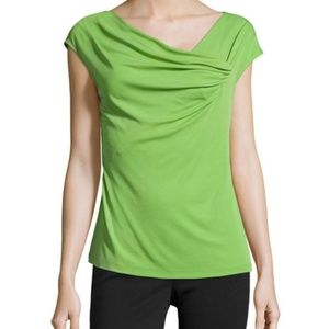 Lafayette 148 New York Draped Front Cap Sleeve Top
